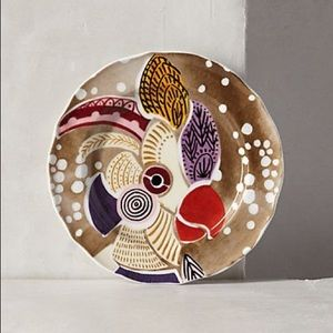 Anthropologie Home Bird Reverie Dessert Plate